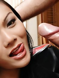 Latex ladyboy gets her cock sucked before sex