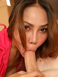 Asian ladyboy May shows shemale pussy
