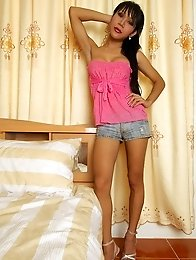 Ladyboy Cutie in denim shorts and pink top