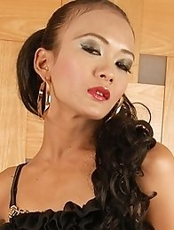 Asian Ladyboy in Black with hard cock