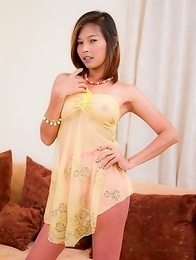 Asian Tgirl Top gives a close up intimate view of her pretty SRS clam