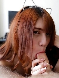 18 year old sexy and horny Thai ladyboy Phone gets a facial from white tourist