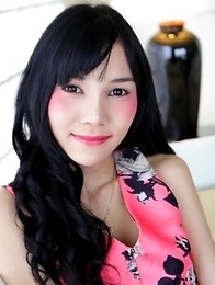 19 year old Thai ladyboy Bonus strips down to her hairy cock