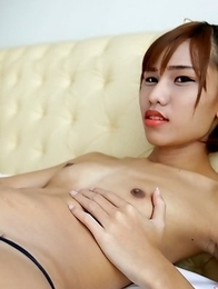 18 year old horny Thai shemale Natty striptease to black panties and hard cock