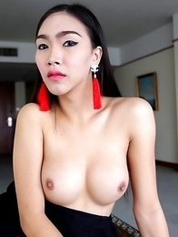 21 year old busty Thai ladyboy Ivy with big cock gets a facial