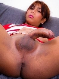 Thai tgirl Bloon is a sexy transgirl with a hot slim body, long sexy legs, a firm ass and a big hard cock!