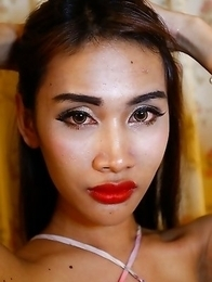 24 year old Thai ladyboy Cake loves sucking and fucking tourists cock and balls