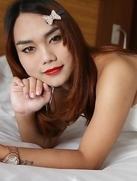 22 year old partygirl Thai ladyboy gets naked and does a striptease