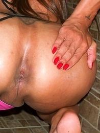 Ladyboy Tum cums as bareback cock enters her asshole