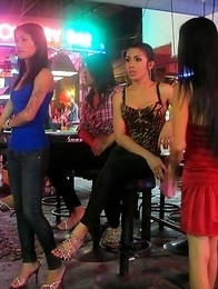 View of flirty Walking Street Ladyboy hookers and more
