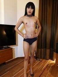 25yo sexy Thai shemale Yammy fucks and sucks white tourists cock.