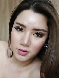 25yo busty Thai ladyboy Peach does a striptease for white tourist