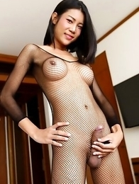 21yo busty Thai ladyboy Cartoon is so horny for cock that she jerks her own cock while sucking his