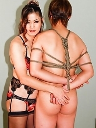Japanese shemale Yuki gets in touch with her kinky side and blindfolds and gags her partner.