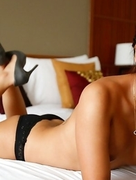 Sexy 20 year old Thai ladyboy Mickey  sucks and gets asshole stretched by big white cock