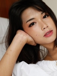 19yo cute Thai ladyboy Pream gets asshole worked by big white cock