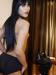 25yo Thai ladyboy Yammy poses before sucking white cock