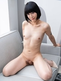 Skinny japan ladyboy Yoko shows her small cock