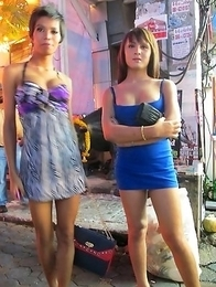 Horny Pattaya Ladyboys on the street looking for customers